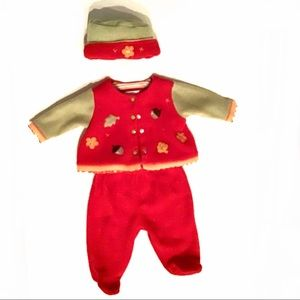 Little Me Signature 3 mo 3 piece set Red & Green